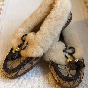 Coach Fiona Shearling Moccasin Slipper Shoe